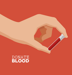 donate blood hand holding tube test vector image