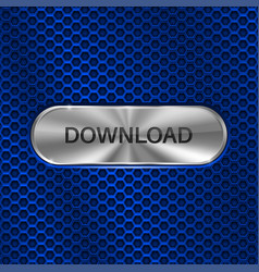Download button metal oval button on blue vector