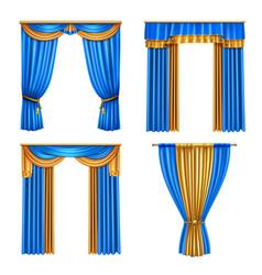Drapes curtains realistic set vector