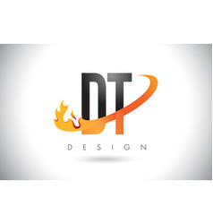 Dt d t letter logo with fire flames design and vector