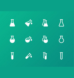 erlenmeyer flasks flask tube icons on green vector image