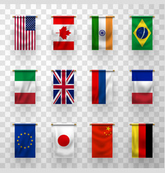 Flags world countries 3d banners vector