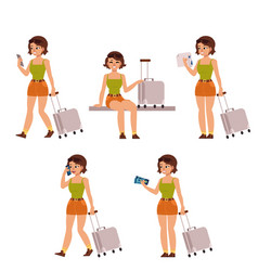flat woman tourist travel bag suitcase set vector image