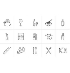 food and drink hand drawn sketch icon set vector image