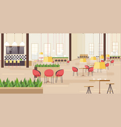 Food court in shopping mall horizontal vector