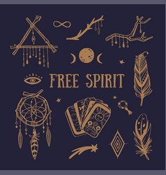 free spirit boho collection dreamcatchers vector image