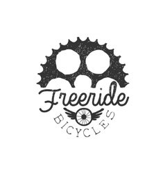 Freeride Vintage Label With Gear Silhouette vector image