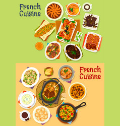 french cuisine dinner icon set for menu design vector image