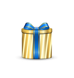 Gift box 3d blue ribbon bow isolated white vector