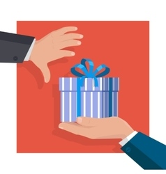 Giving Gifts Concept in Flat Design vector