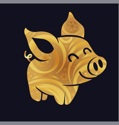Golden pig silhouette little vector