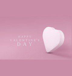 Greeting card with a delicate white 3d heart vector