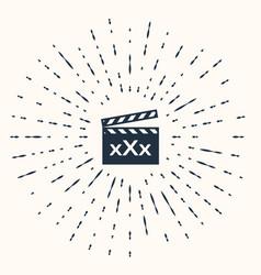 Grey movie clapper with inscription xxx icon vector