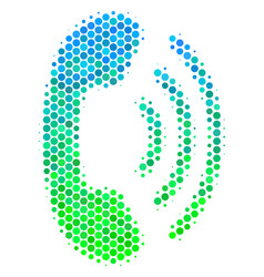 Halftone blue-green phone ring icon vector