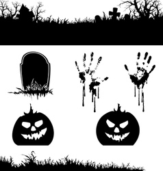 Halloween banner and elements silhouette vector