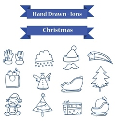 Hand drawn Christmas icons set vector