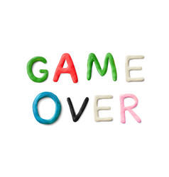 handmade modeling clay words game over vector image