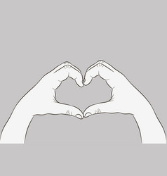 hands in heart shape gesture love sign vector image
