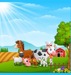 Happy farm animals on daylight vector