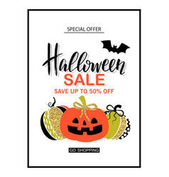 happy halloween sale poster with cute glamorous vector image