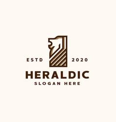 heraldic lion logo template logo vector image