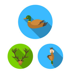 hunting and trophy flat icons in set collection vector image