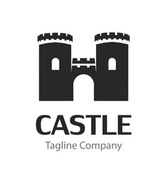 image with black silhouette medieval castle vector image