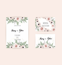 invitation with handmade floral elements vector image