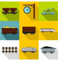 Iron way road icons set flat style vector
