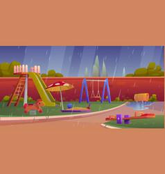 kids playground at rainy weather children area vector image