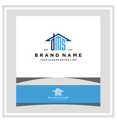 Letter dms home roof logo design and business card vector