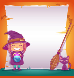 Little witch with black kitten and broom happy vector