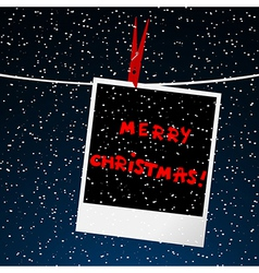 Merry Christmas card with picture over night sky vector image