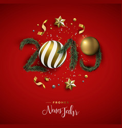 new year 2019 red holiday decoration in german vector image