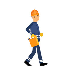 oilman character in a blue uniform carrying orange vector image