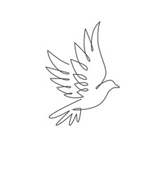 one continuous line drawing cute flying dove vector image
