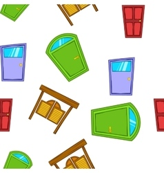 Opening door pattern cartoon style vector image