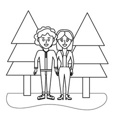 outline cute woman and man with elegant clothes vector image