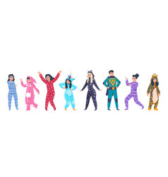 pajamas characters happy cartoon persons in vector image