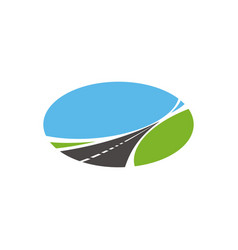 Pathway highway icon tapering paved road vector