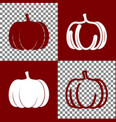 Pumpkin sign bordo and white icons and vector