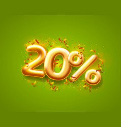 Sale 20 off ballon number on green background vector