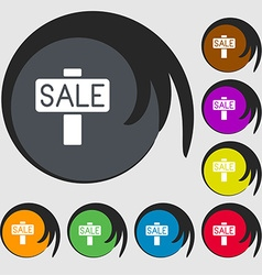 Sale price tag icon sign Symbols on eight colored vector image