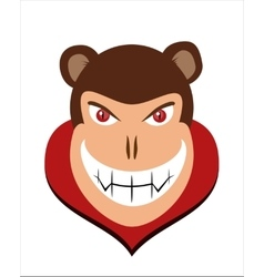 Scary halloween dracula monkey head with red eye vector image