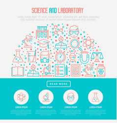 science and laboratory concept in half circle vector image