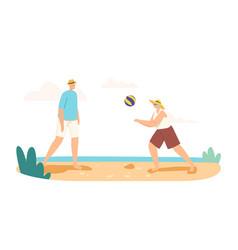Senior couple playing beach volleyball on sea vector