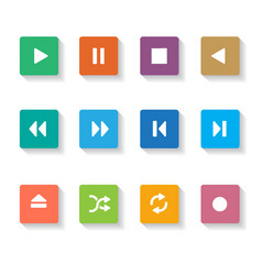 Set of 12 square media buttons vector