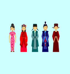 set of asian costumes ethnic people in vector image