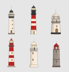 Set of different lighthouses on light background vector