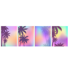 set palm trees backgrounds vector image